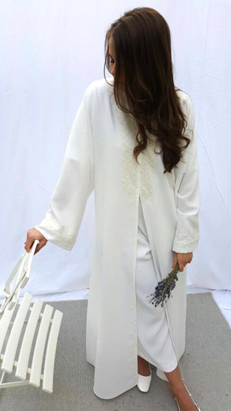 Arabesque light linen kimono cut abaya embellished with delicate lace borders on front and sleeves.