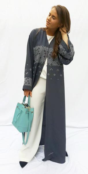 Shoulder cut abaya with contemporary embellishment on sleeves, front and back.