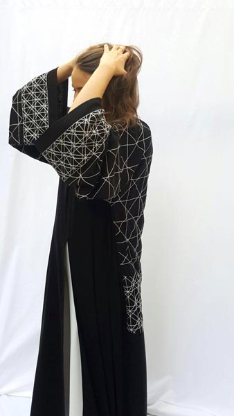 Arabesque new drop shoulder cut kimono style abaya with graphic designs embroideries on sleeves and back.