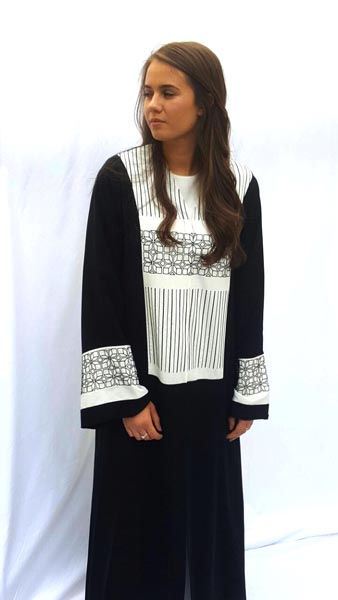Signature classic cut abaya with graphic hand embroidery embellishment on sleeves and bust.