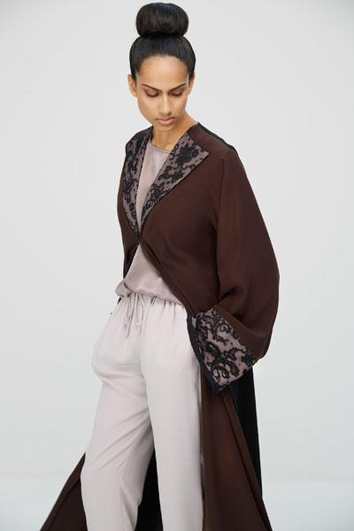 Arabesque classic cut abaya with lace details on fancy collar and cuffs.