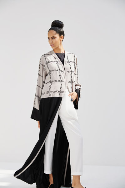 Arabesque classic cut abaya with graphic motif, beads and sequences embroidery on bust and sleeves