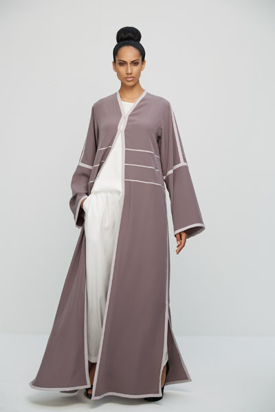 Arabesque signature classic cut abaya with side slits and contrasting colored lines.